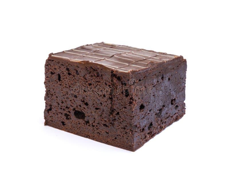 Browniecake op witte achtergrond wordt geïsoleerd die royalty-vrije stock foto