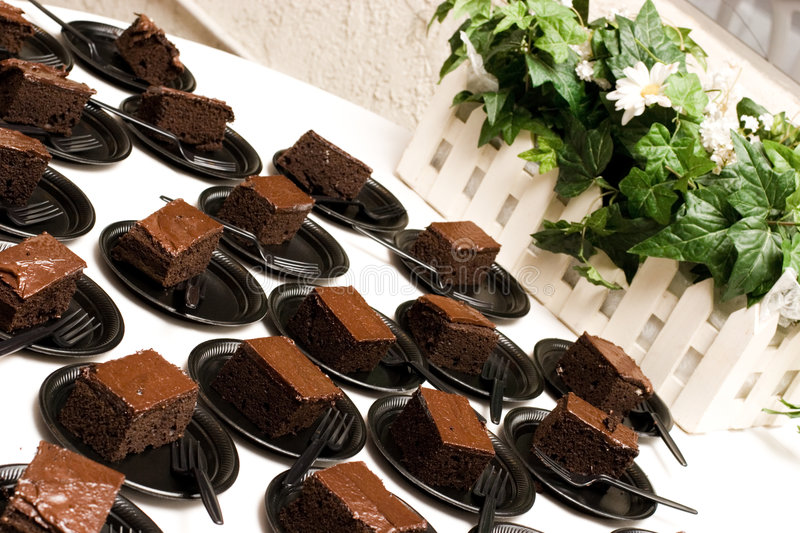 Brownies. At a dance party waiting to be eaten stock image