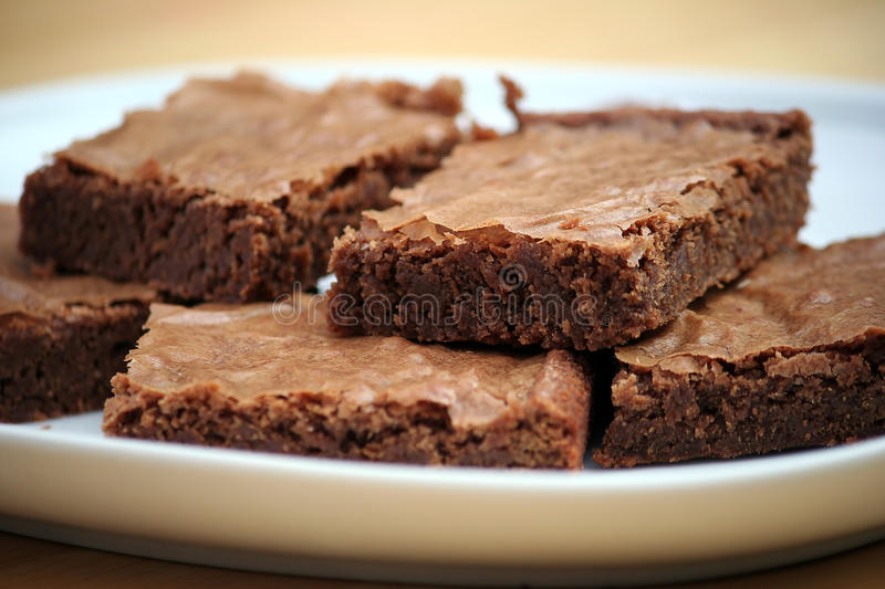 Brownies. Chocolate Brownies on a White Platter stock photography