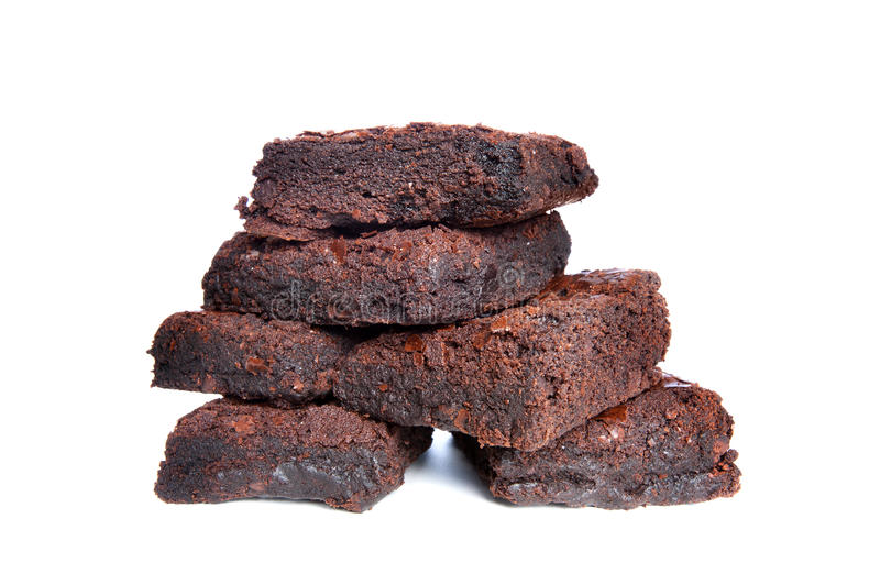 Brownies. Freshly baked brownies on a white background royalty free stock photography