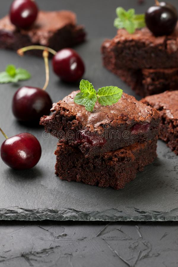 Brownies with cherries royalty free stock photography