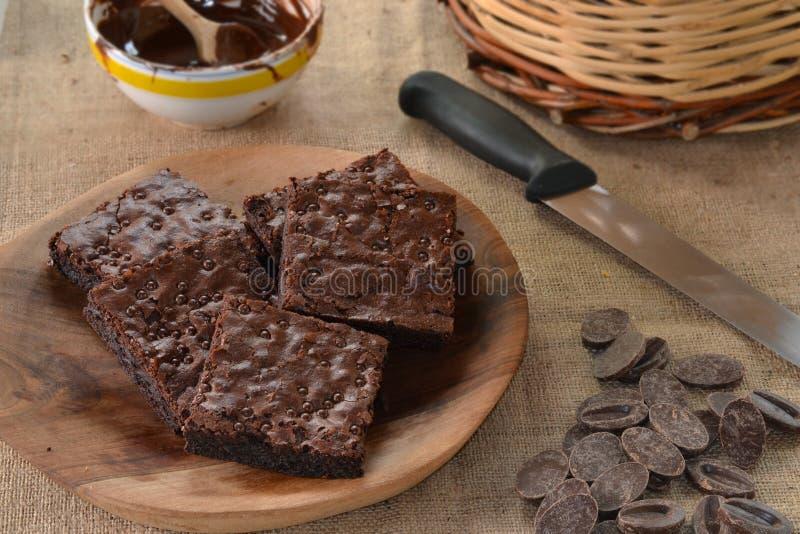 Brownies. Chocolate brownies dish and ingredients stock image