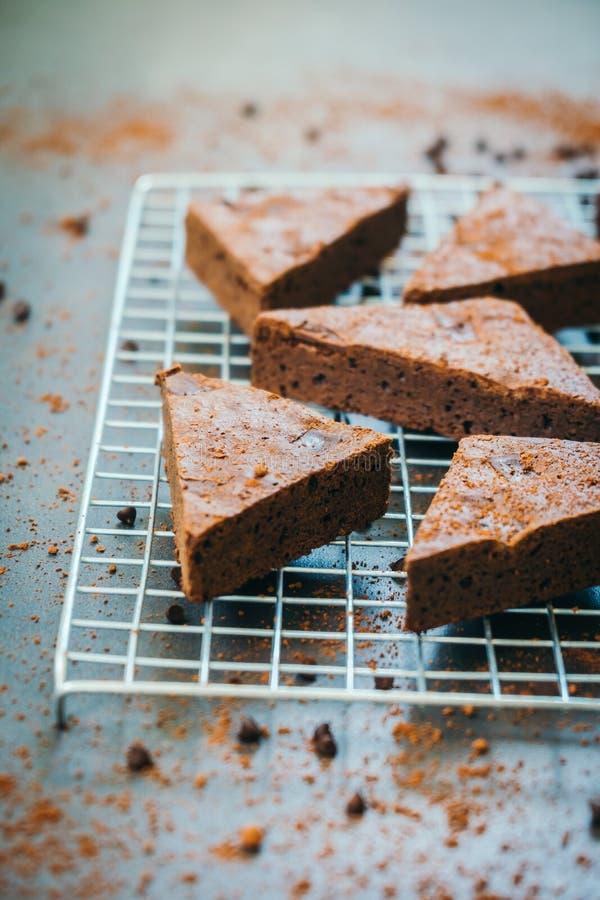 Brownies do chocolate imagens de stock