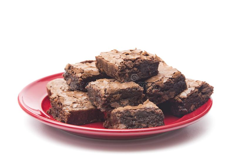 Brownies dobro pegajosos caseiros do chocolate foto de stock royalty free