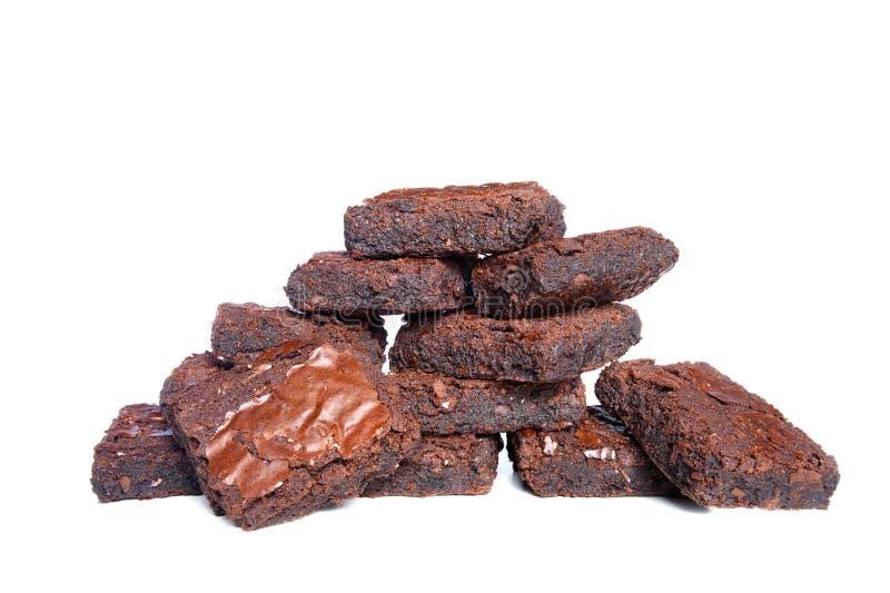 Brownies no fundo branco fotos de stock royalty free