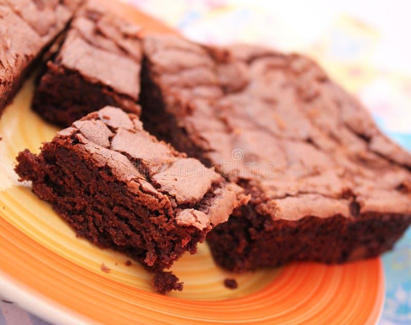 Brownies. Some homemade brownies with dark chocolate stock image