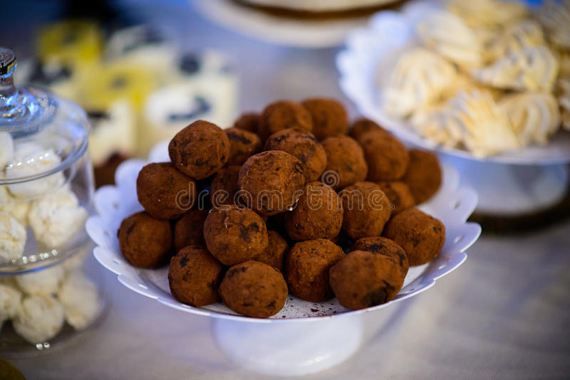 Brownies. And sweets in a nice arrangement royalty free stock photography