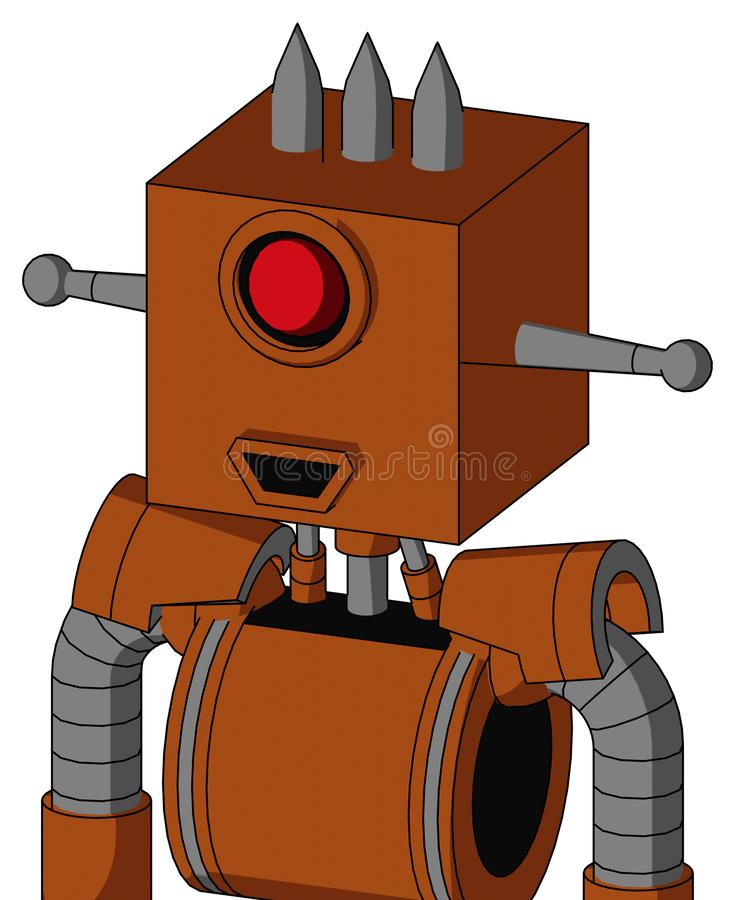 Brownish Droid With Box Head And Happy Mouth And Cyclops Eye And Three Spiked stock illustration