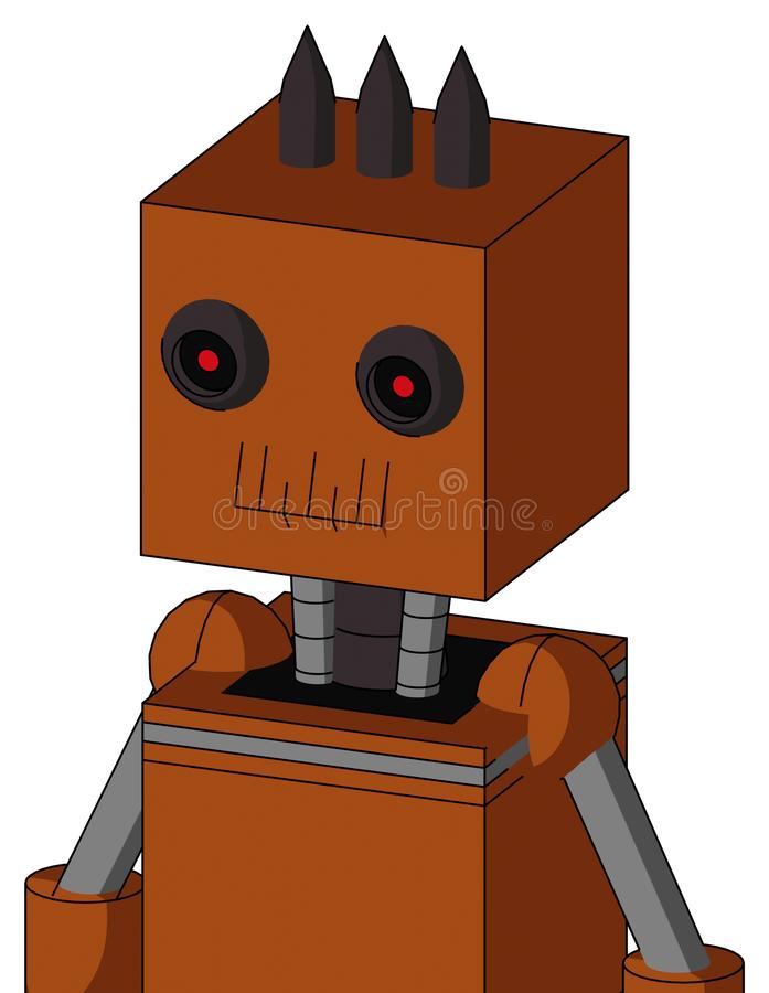 Brownish Droid With Box Head And Toothy Mouth And Black Glowing Red Eyes And Three Dark Spikes. Portrait style Brownish Droid With Box Head And Toothy Mouth And royalty free illustration