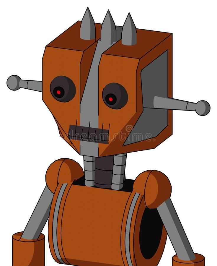 Brownish Droid With Mechanical Head And Dark Tooth Mouth And Red Eyed And Three Spiked stock photo