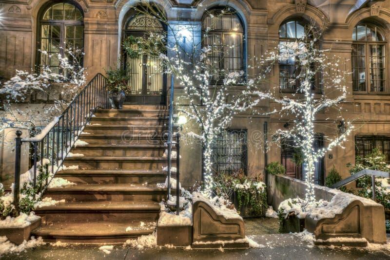 Brownstone Нью-Йорк Манхаттан стоковая фотография