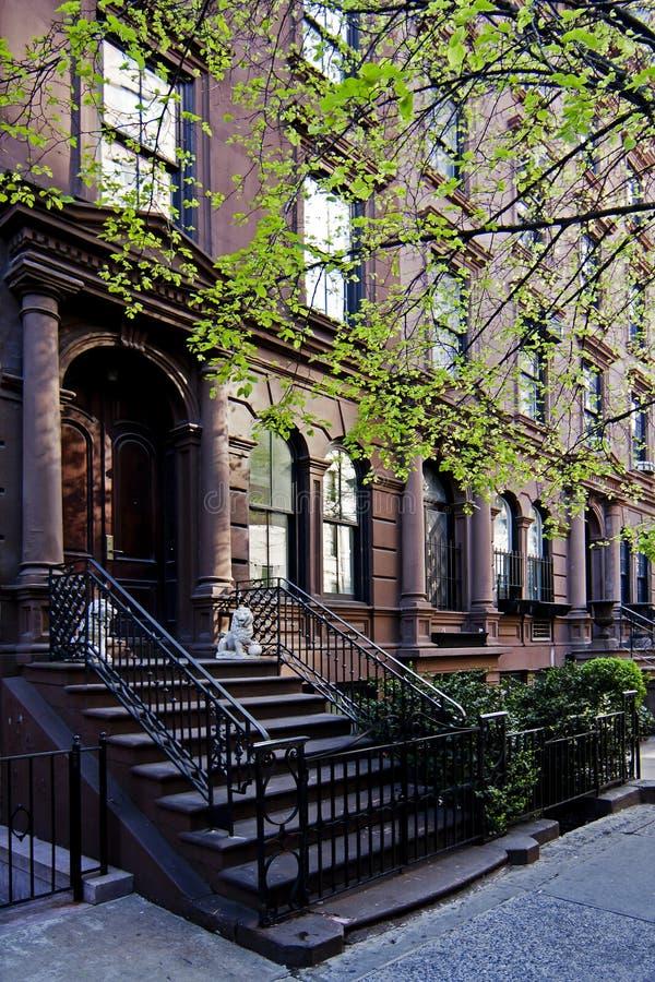 Brownstone huis in de stad royalty-vrije stock fotografie