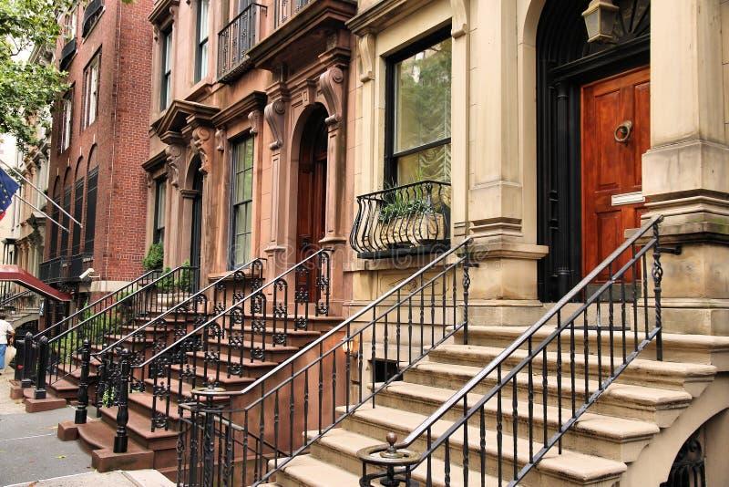 Brownstone van New York royalty-vrije stock afbeelding
