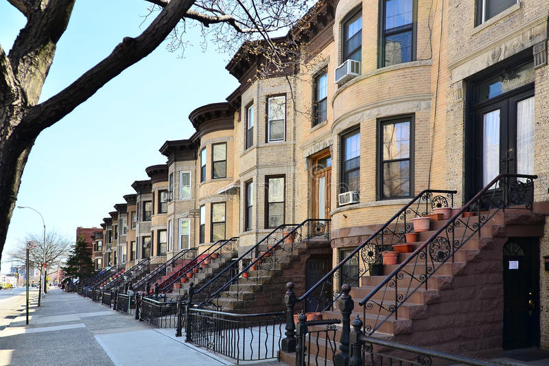 Brownstones, Brooklyn, NY. Old row houses in Brooklyn, New York royalty free stock images