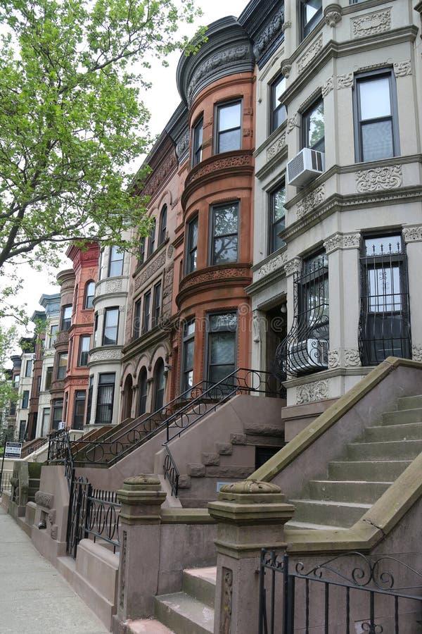 Brownstones di New York alla vicinanza storica di altezze di prospettiva fotografie stock