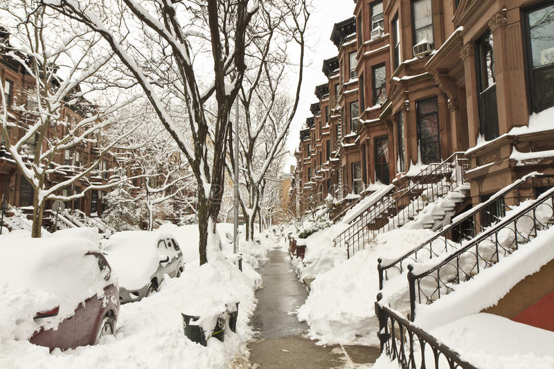 Brownstones enterrados na neve imagem de stock royalty free