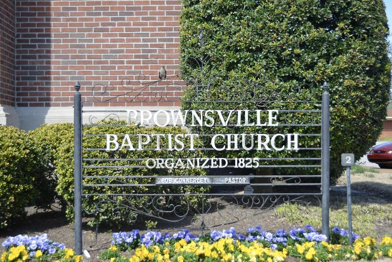 Brownsville Baptist Church 1825, Brownsville, Tennessee stock fotografie