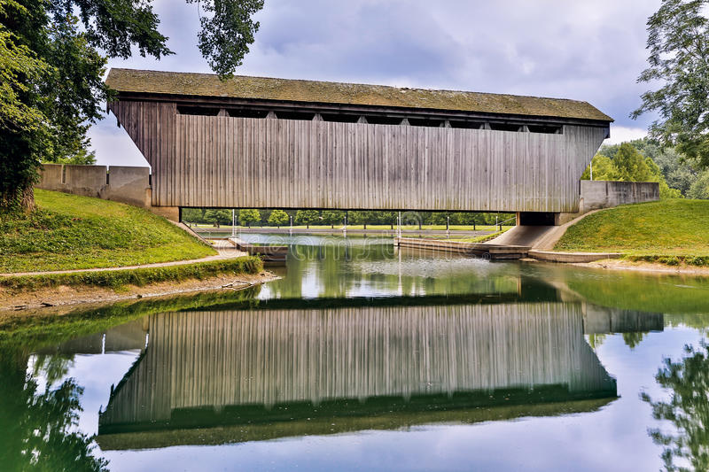 Brownsville Covered Bridge Reflection royalty free stock photo