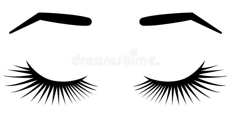 Brows και μαστίγια Διανυσματική απεικόνιση των μαστιγίων και brows Για το σαλόνι ομορφιάς, κατασκευαστής επεκτάσεων μαστιγίων, br απεικόνιση αποθεμάτων