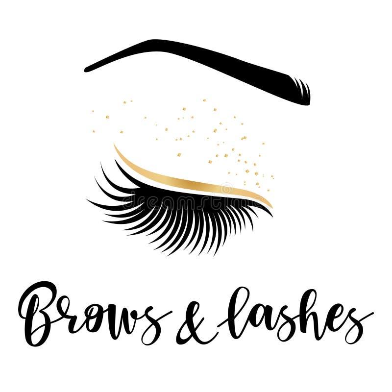 Brows και χρυσό λογότυπο μαστιγίων διανυσματική απεικόνιση