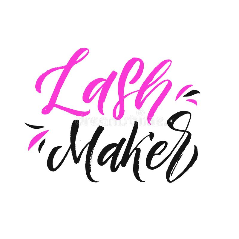 Brows and lashes lettering. Vector illustration of lashes and brows. For beauty salon, lash extensions maker, brow stock illustration
