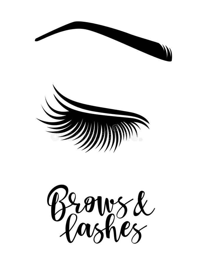 Line Art Logo Maker : Vector illustration of brows and lashes stock