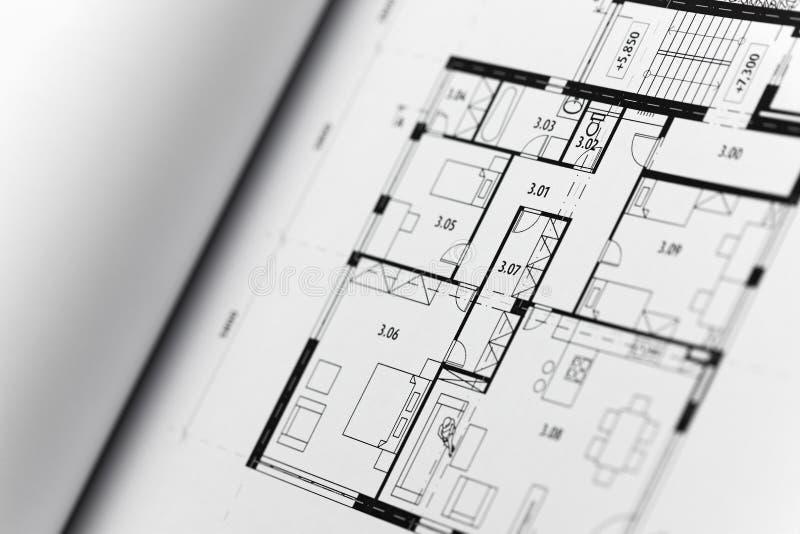 Browse through architectonic portfolio. Architectonic presentation by portfolio. Actual slide is a ground plan stock photos