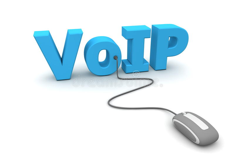 Browse Voice over IP - VoIP. Modern grey computer mouse connected to the blue word VoIP stock illustration