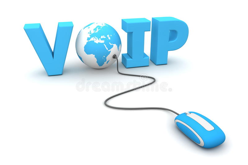 Browse the Voice over IP - VoIP - World - Blue. Modern blue computer mouse connected to the blue word VoIP - the letter O is replaced by a globe vector illustration
