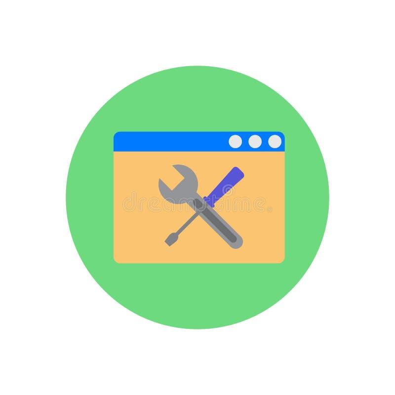 Browser con l'icona piana attraversata del cacciavite e della chiave illustrazione di stock