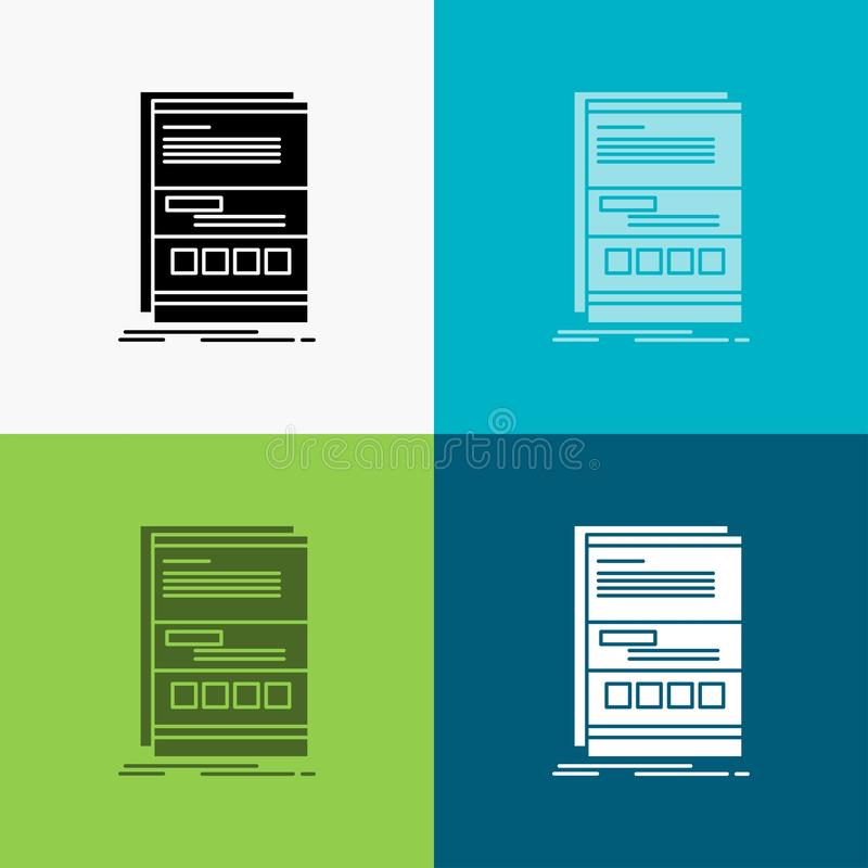 Browser, dynamic, internet, page, responsive Icon Over Various Background. glyph style design, designed for web and app. Eps 10 stock illustration