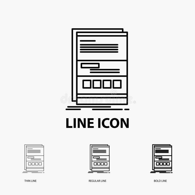 Browser, dynamic, internet, page, responsive Icon in Thin, Regular and Bold Line Style. Vector illustration stock illustration