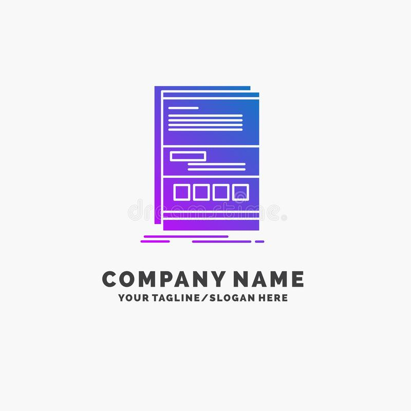 Browser, dynamic, internet, page, responsive Purple Business Logo Template. Place for Tagline royalty free illustration