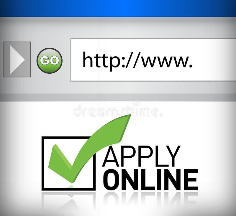 Browser het venster toont de woorden online van toepassing zijn stock illustratie