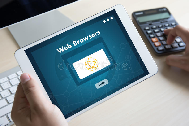 Browser http man use computer Web Browsers Online Networking Con. Nection Technology Digital stock illustration