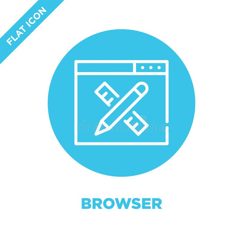 browser icon vector. Thin line browser outline icon vector illustration.browser symbol for use on web and mobile apps, logo, print vector illustration