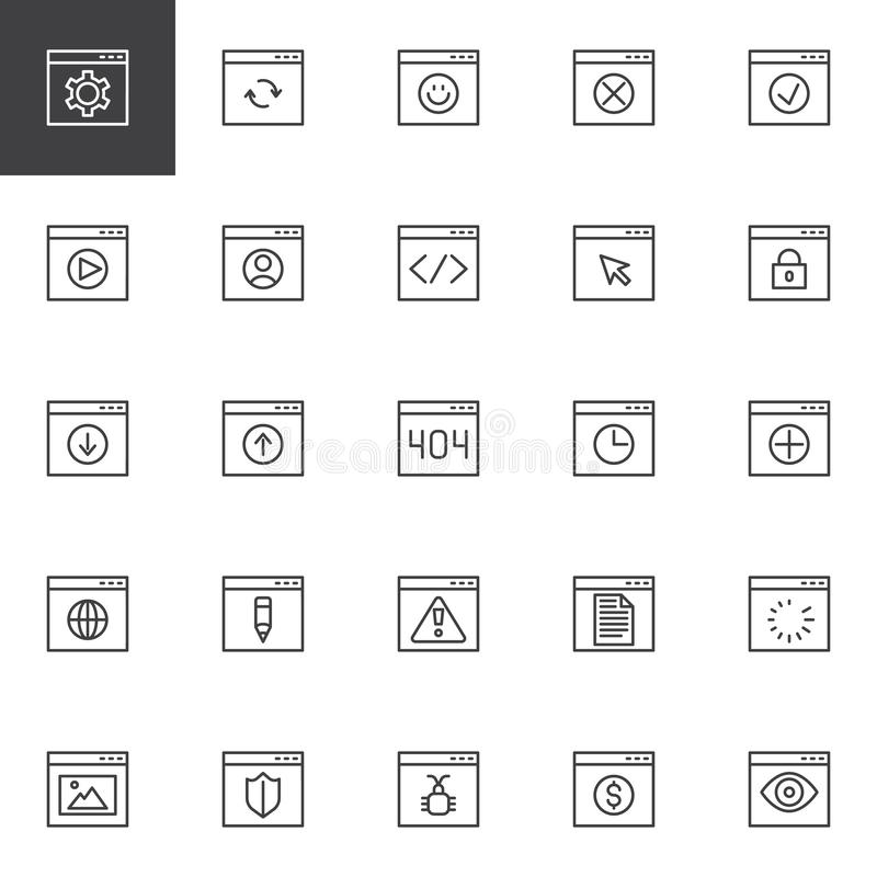 Browser interface outline icons set royalty free illustration