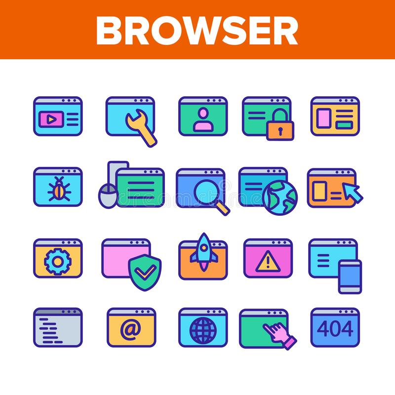 Browser Internet Web Site Pages Icons Set Vector stock illustration