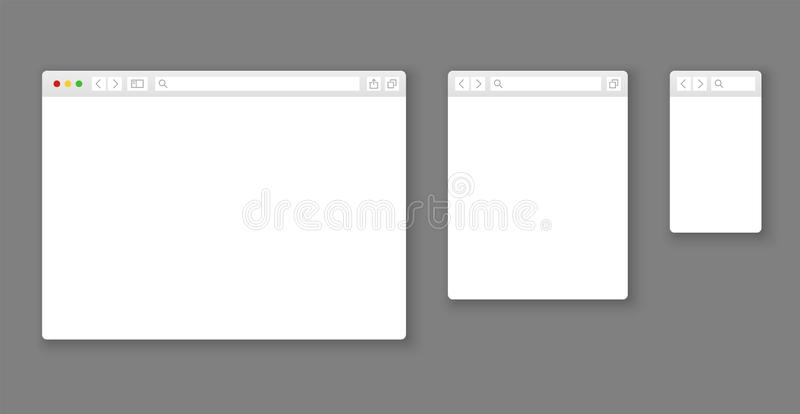 Browser mockups. Website different devices web window mobile screen internet flat template empty page network row set. Browser mockups. Website different devices stock illustration