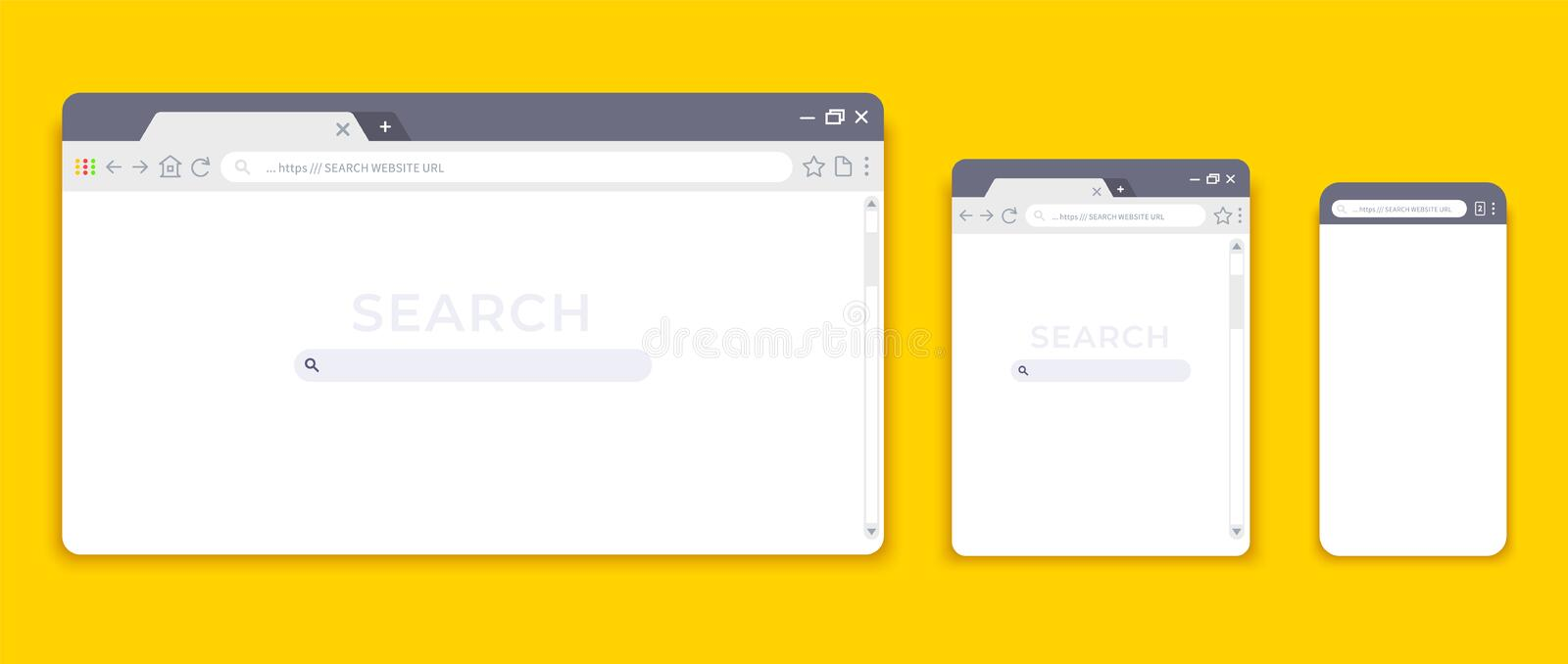 Browser mockups. Website interface for different devices, empty laptop tablet and mobile internet page. Vector browser vector illustration