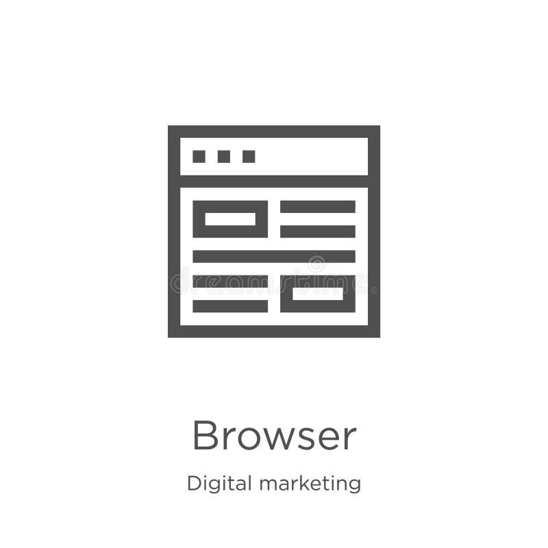 browser pictogramvector van digitale marketing inzameling De dunne lijnbrowser vectorillustratie van het overzichtspictogram Over royalty-vrije illustratie