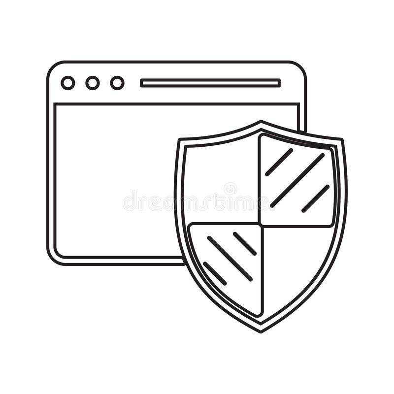 browser protection icon. Element of cyber security for mobile concept and web apps icon. Thin line icon for website design and stock illustration