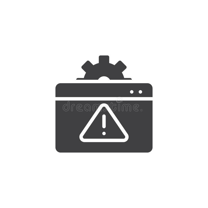 Browser setting attention vector icon stock illustration