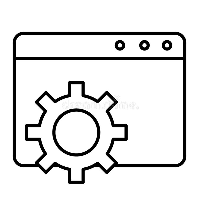 Browser settings thin line icon. Computer settings vector illustration isolated on white. Window and gear outline style royalty free illustration
