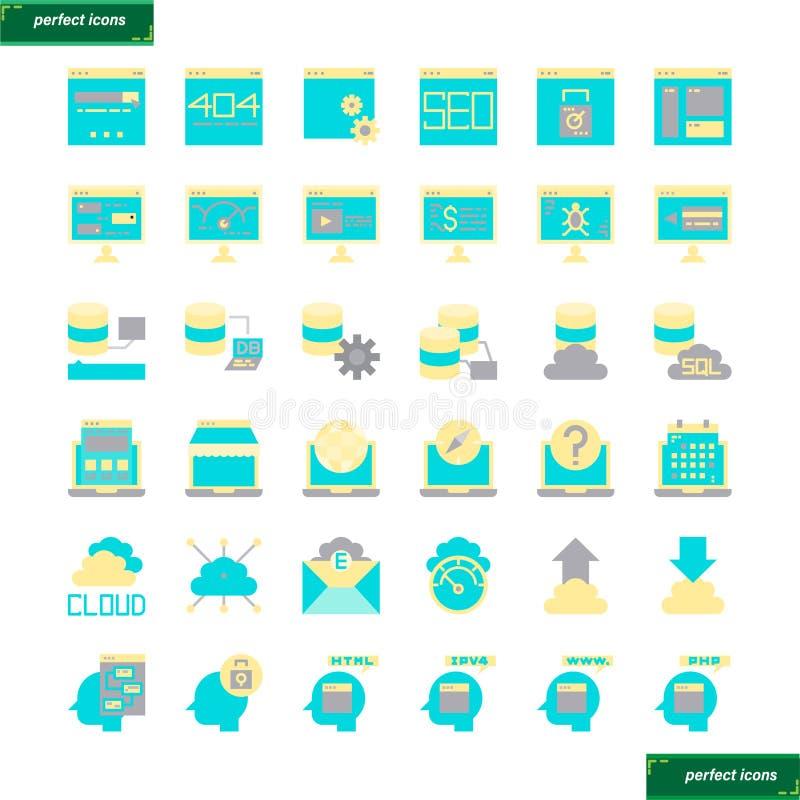 Browser-und Schnittstellen-flache Ikonen eingestellt lizenzfreies stockbild