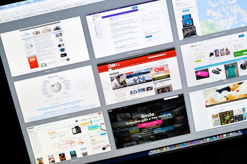 Browser van het safariweb op Apple het scherm van het 15 duimmacbook pro retina in Florence, Italië, 18 februari 2014 royalty-vrije stock foto