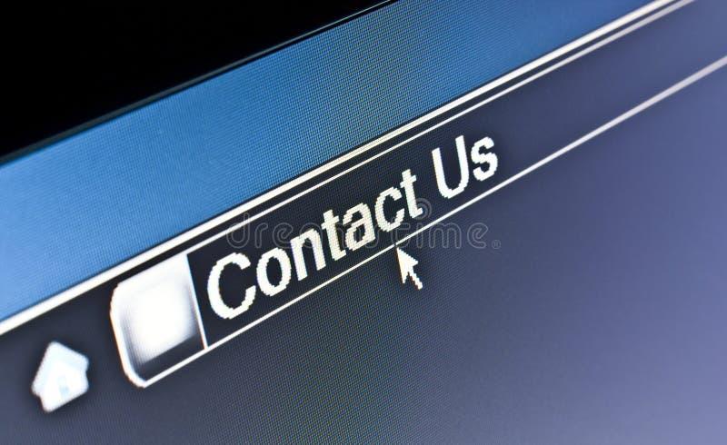 Browser van Internet contacteert ons Concept stock fotografie