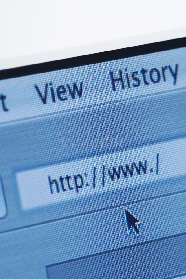 Browser van Internet met de Lege Website van  stock fotografie