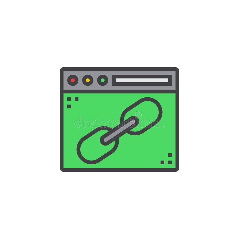 Browser venster met het pictogram van de verbindingslijn, gevuld overzichts vectorteken, vector illustratie