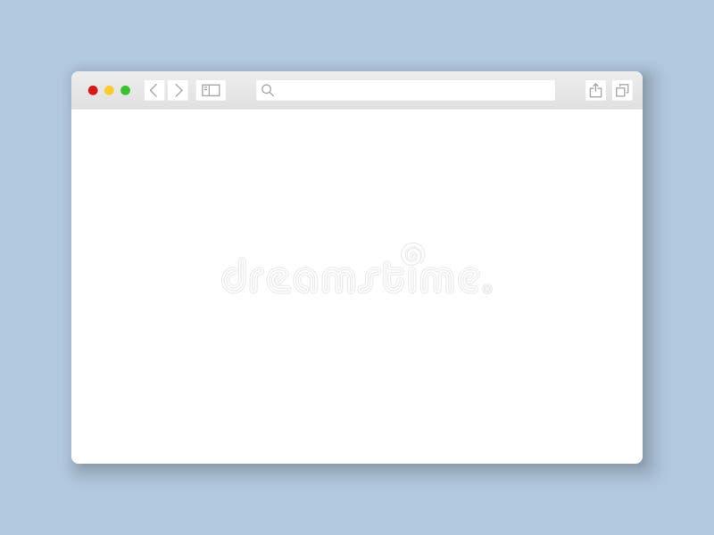 Browser Venster Van het scherminternet van de Webinterface onechte van het het documentmodel van het de website vlakke lege kader stock illustratie